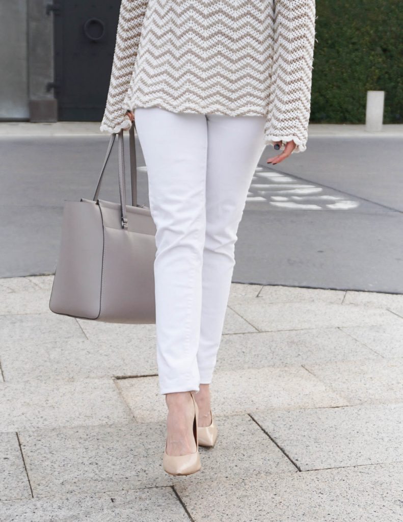 Casual Outfit | White Skinny Jeans | Nude Heels | Houston Fashion Blogger Lady in Violet
