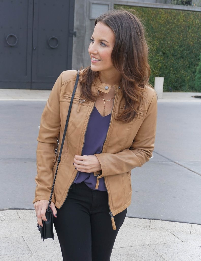 Perfect Leather Jacket Color for Spring | Casual Outfit | Houston Fashion Blogger Lady in Violet