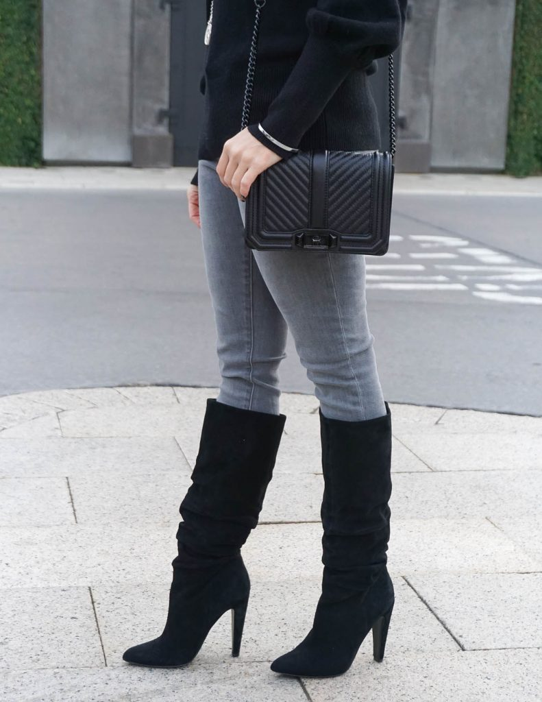 Winter Outfit | Rebecca Minkoff Love Bag | Suede Boots | Houston Fashion Blogger Lady in Violet