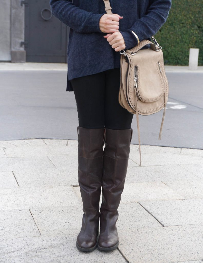 Winter Outfit | Saddle Crossbody Bag | Brown OTK Boots | Houston Fashion Blogger Lady in Violet