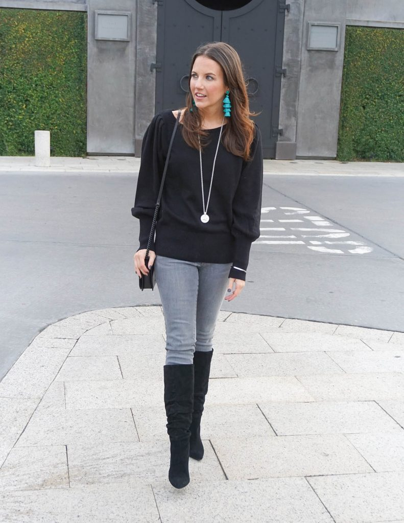 Casual Winter Outfit | Black Sweater | Gray Jeans | Houston Fashion Blogger Lady in Violet