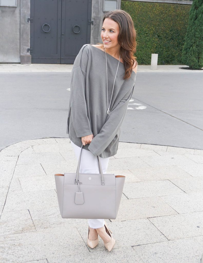 Casual Winter Outfit | Gray Sweater | White Jeans | Houston Fashion Blogger Lady in Violet