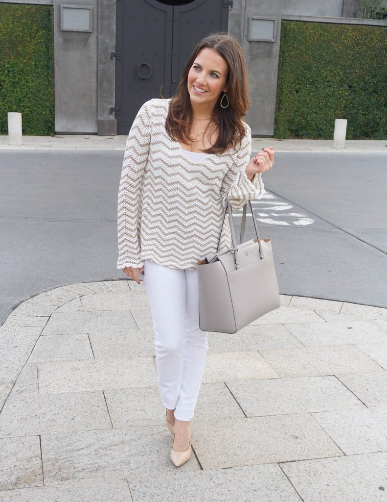 Winter Outfit | Striped Sweater | White Jeans | Houston Fashion Blogger Lady in Violet