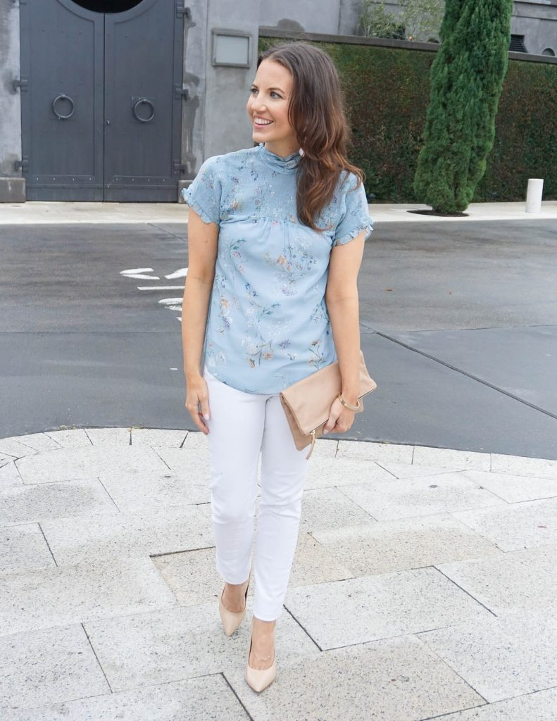 Spring Outfit | Blue Floral Top | White Skinny Jeans | Houston Fashion Blogger Lady in Violet