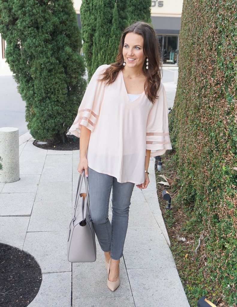 Spring Outfit | Blush Pink Top | Gray Jeans | Houston Fashion Blogger Lady in Violet