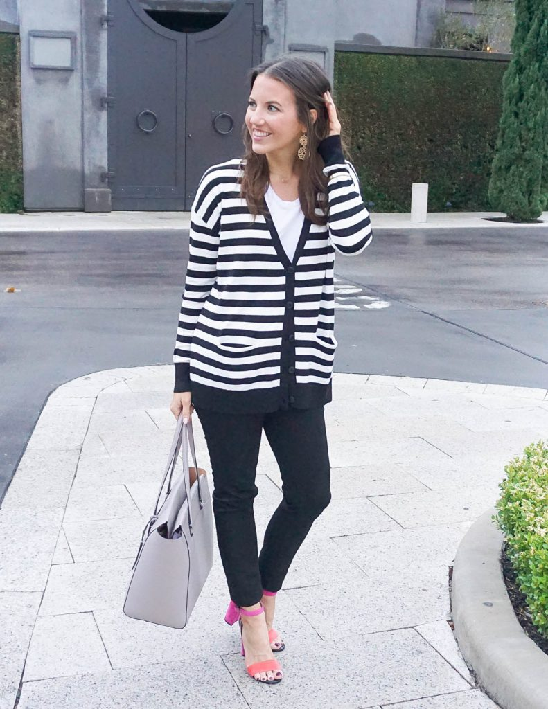 Spring Outfit | Striped Cardigan | Block Heel Sandals | Houston Fashion Blogger Lady in Violet
