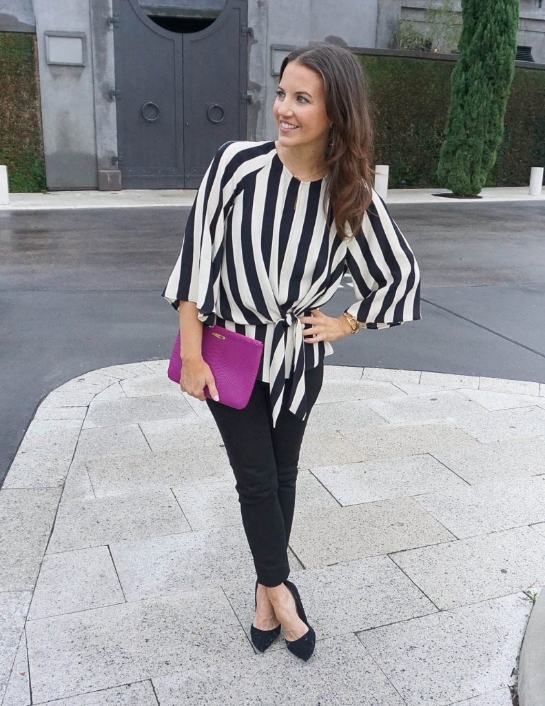 Spring Outfit | Striped Top for Work | Black Jeans | Houston Fashion Blogger Lady in Violet