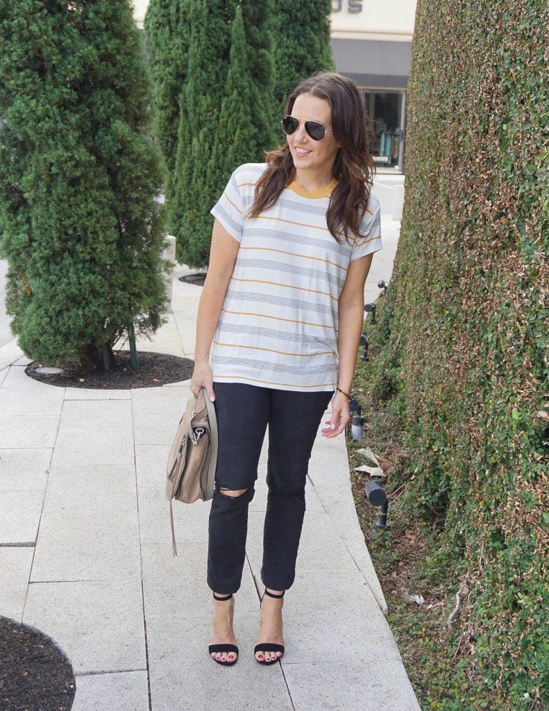 Spring Outfit | Striped Tshirt | Black Distressed Jeans | Houston Fashion Blogger Lady in Violet