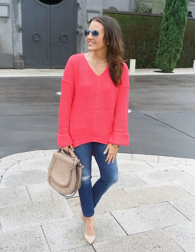 Winter Outfit | Pink Coral Sweater | Distressed Jeans | Houston Fashion Blogger Lady in Violet