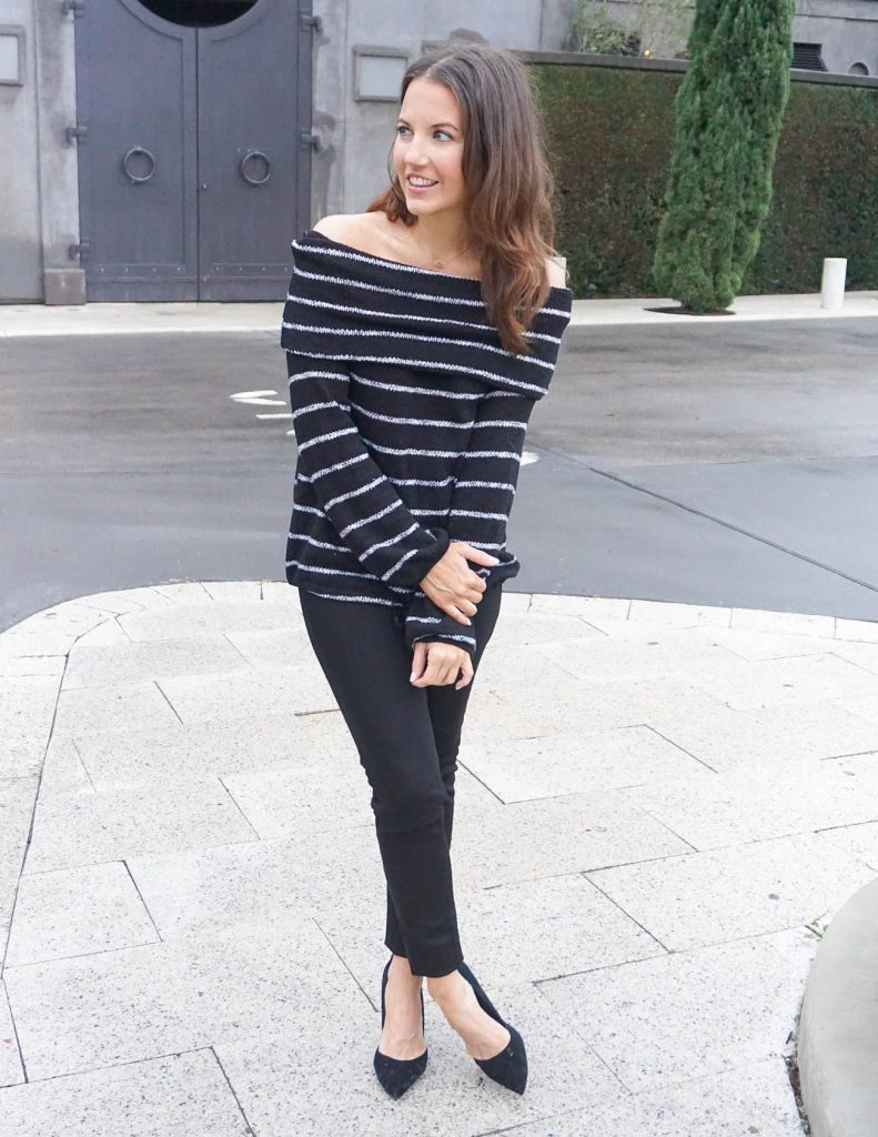 86399fd15ac Striped Off the Shoulder Sweater