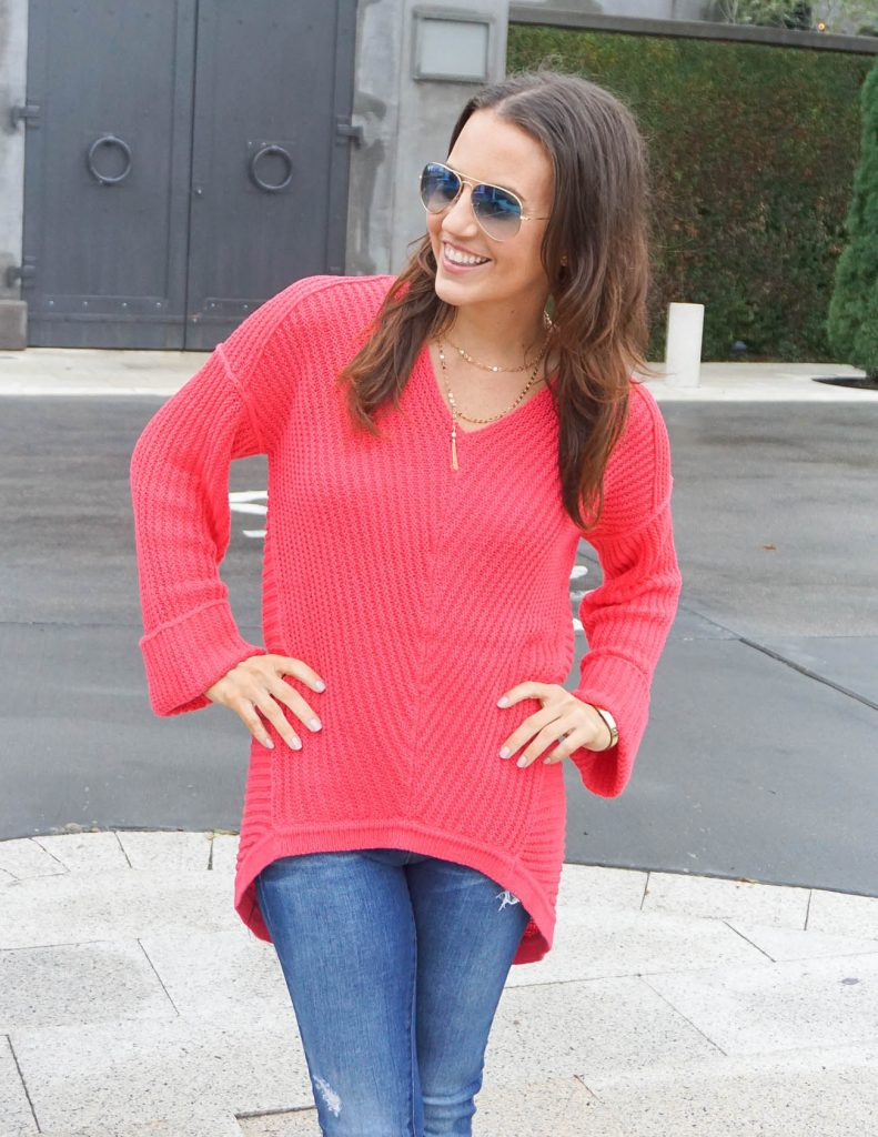 Casual Outfit | Coral Sweater | Y Choker Necklace | Houston Fashion Blogger Lady in Violet