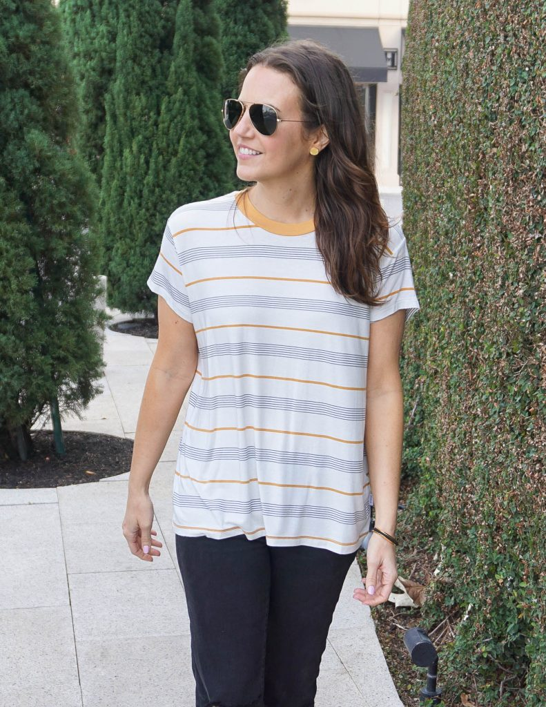 Casual Outfit | Tomboy Striped Tee | Gold Stud Earrings | Houston Fashion Blogger Lady in Violet