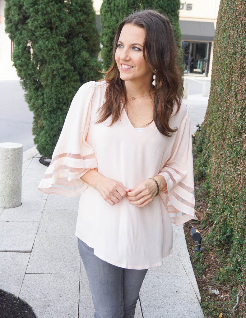 Casual Spring Outfit | Blush Pink Blouse | White Earrings | Houston Fashion Blogger Lady in Violet