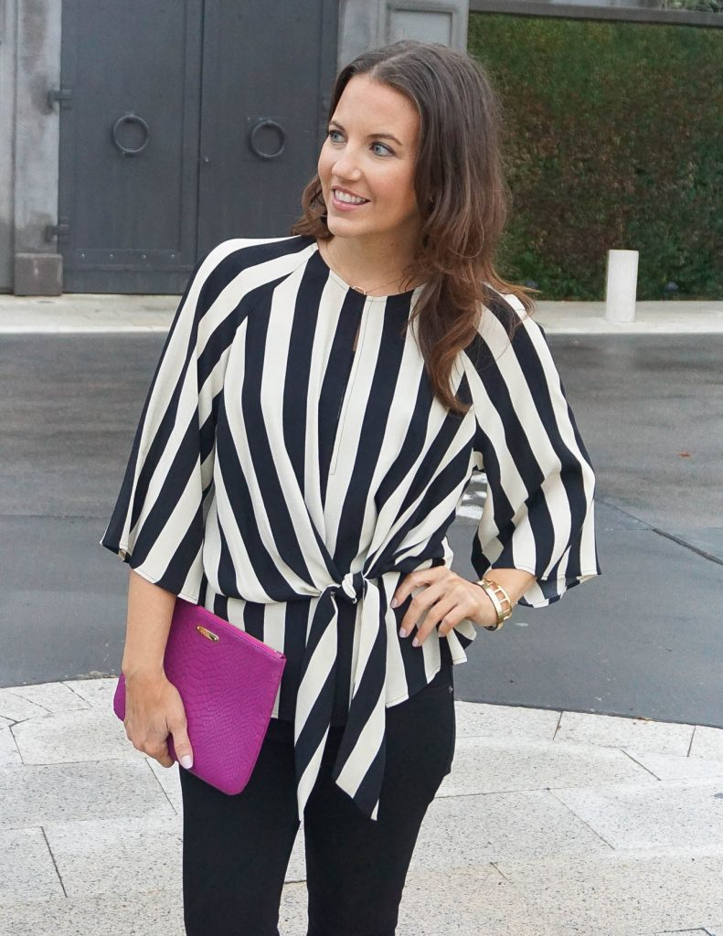 Date Night Outfit | Topshop Striped Top | Pink Clutch | Houston Fashion Blogger Lady in Violet