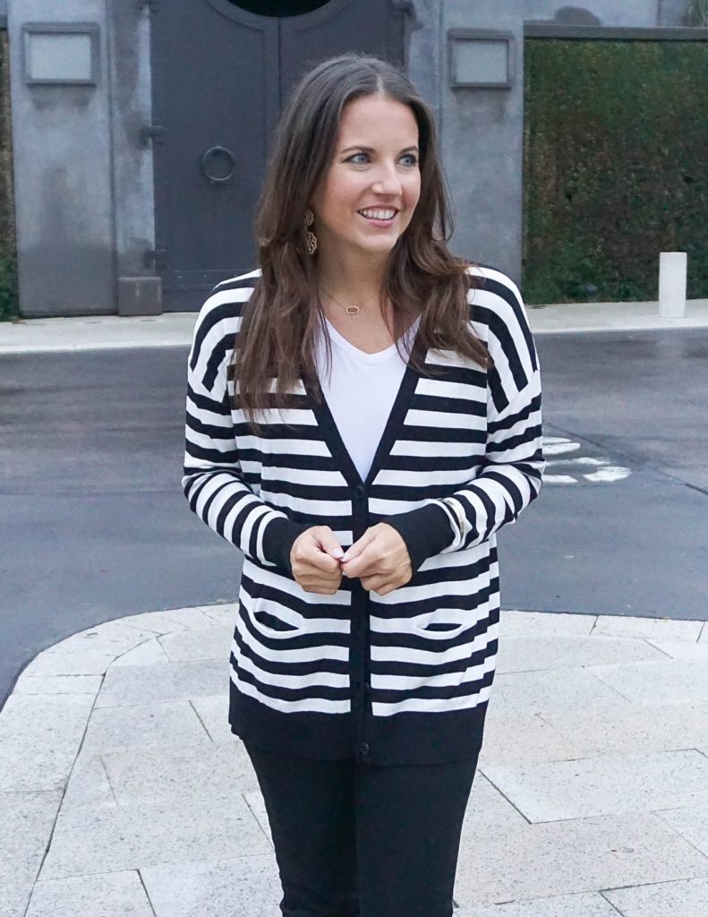 Layered Outfit   Striped Cardigan   White Tshirt   Houston Fashion Blogger Lady in Violet