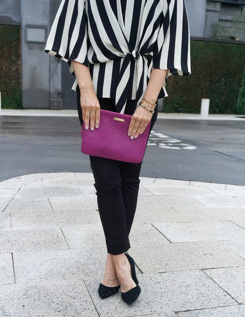 Dressy Weekend Outfit | Gigi NY Clutch | Tie Front Top | Houston Fashion Blogger Lady in Violet