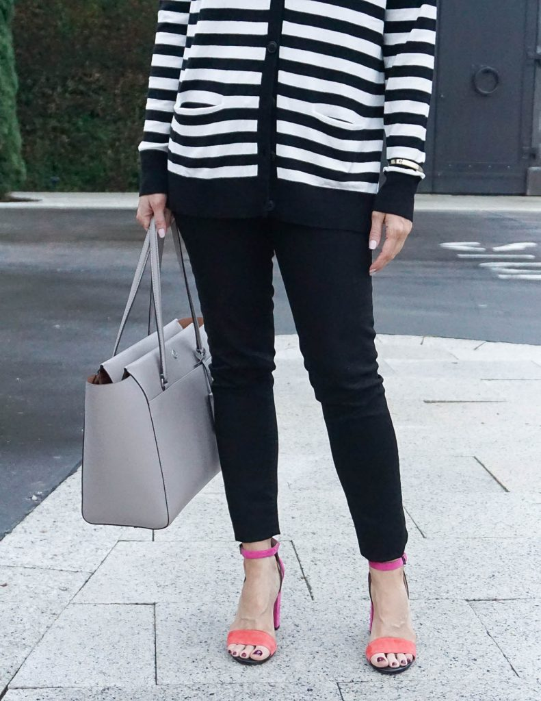 Spring Outfit   Black Skinny Jeans   Pink Block Heel Sandals   Houston Fashion Blogger Lady in Violet