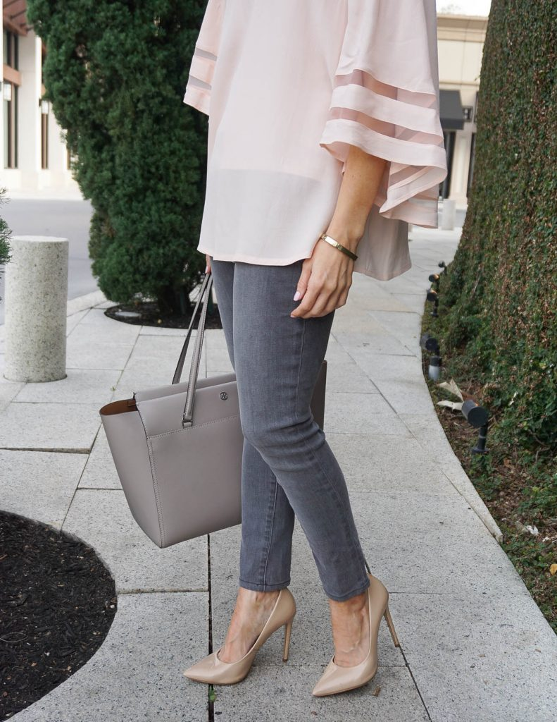 Spring Outfit | Gray Jeans | Tory Burch Tote Bag | Houston Fashion Blogger Lady in Violet