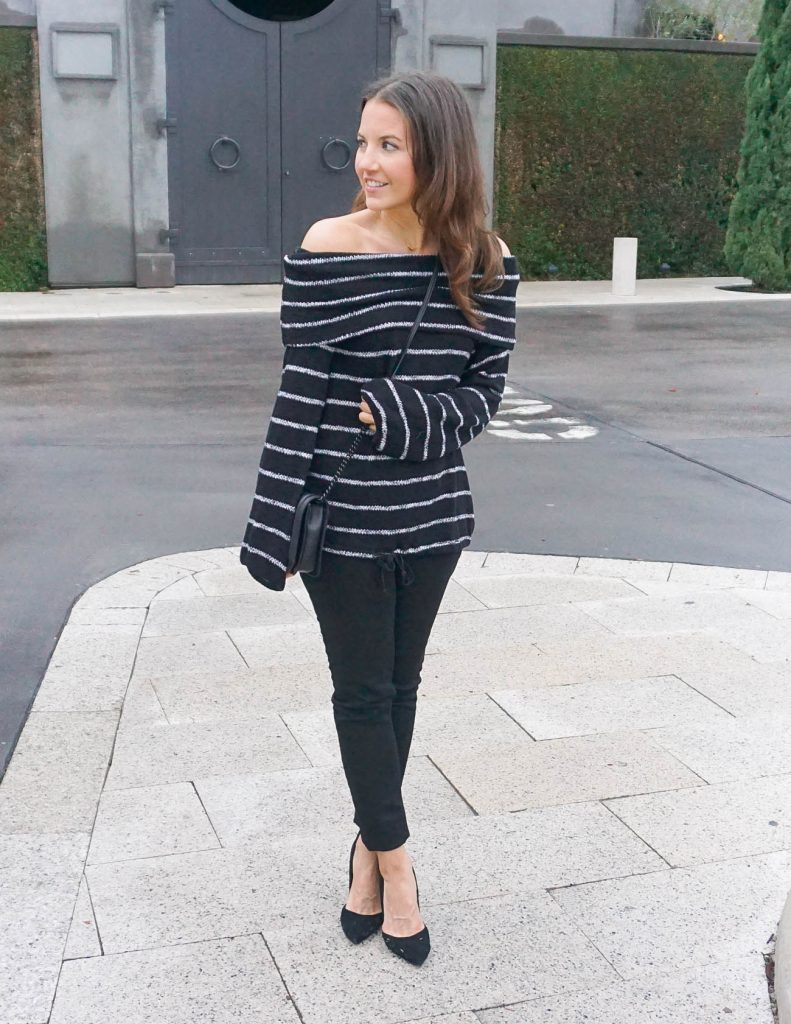 Casual Outfit | Striped Sweater | Black Jeans | Houston Fashion Blogger Lady in Violet