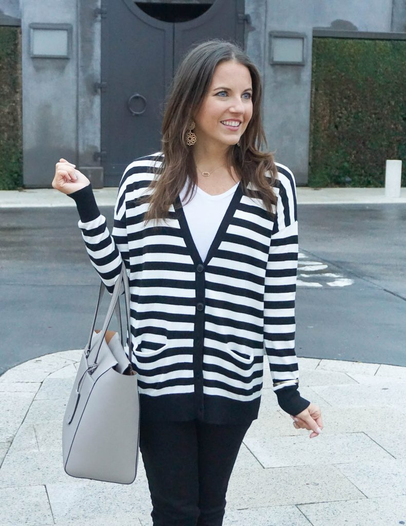 Striped Cardigan for Spring | Tory Burch Tote Bag | Houston Fashion Blogger Lady in Violet