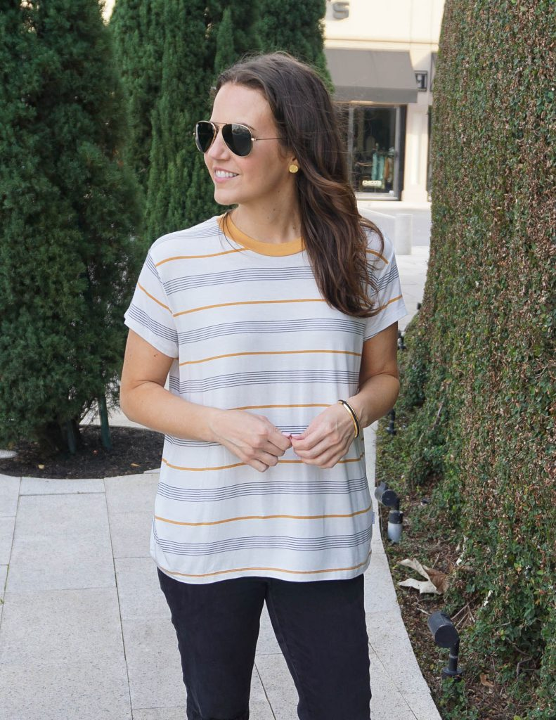 Summer Outfit | Short Sleeve Striped Tee | Rayban Aviators | Houston Fashion Blogger Lady in Violet