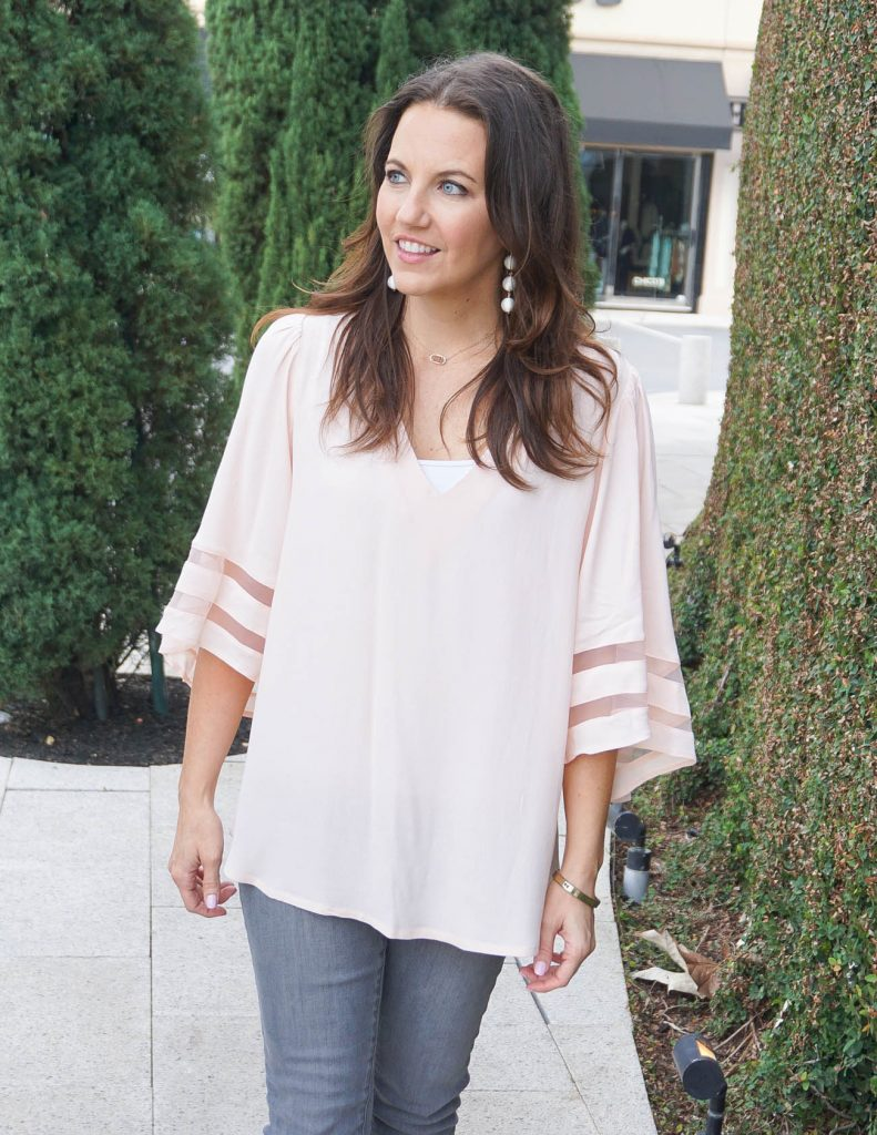 Weekend Outfit | Blush Pink Flowy Top | White Ball Earrings | Houston Fashion Blogger Lady in Violet