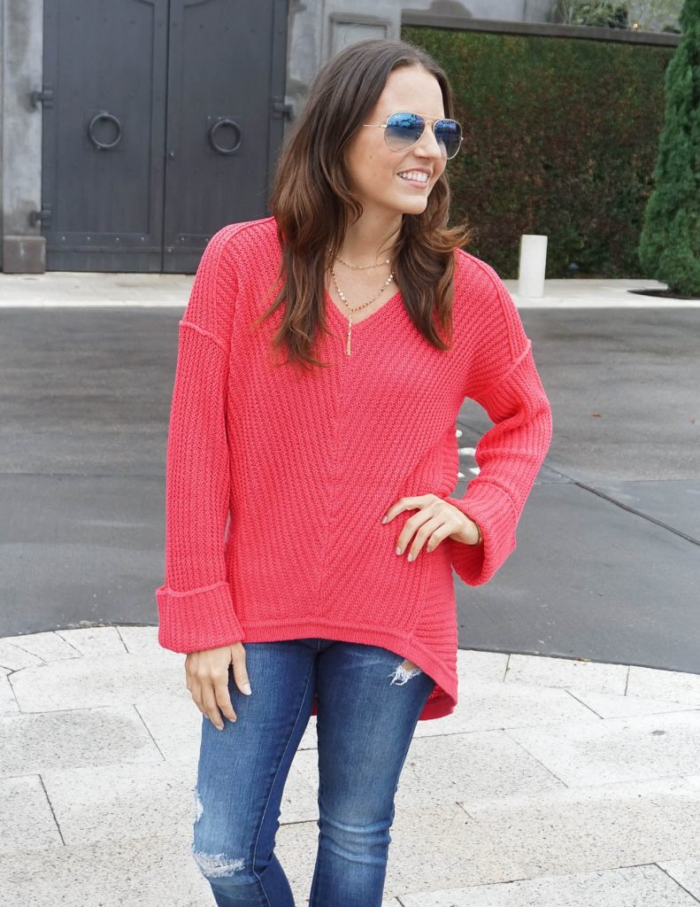 Winter Outfit | Pink Sweater | Blue Gradient Aviators | Houston Fashion Blogger Lady in Violet