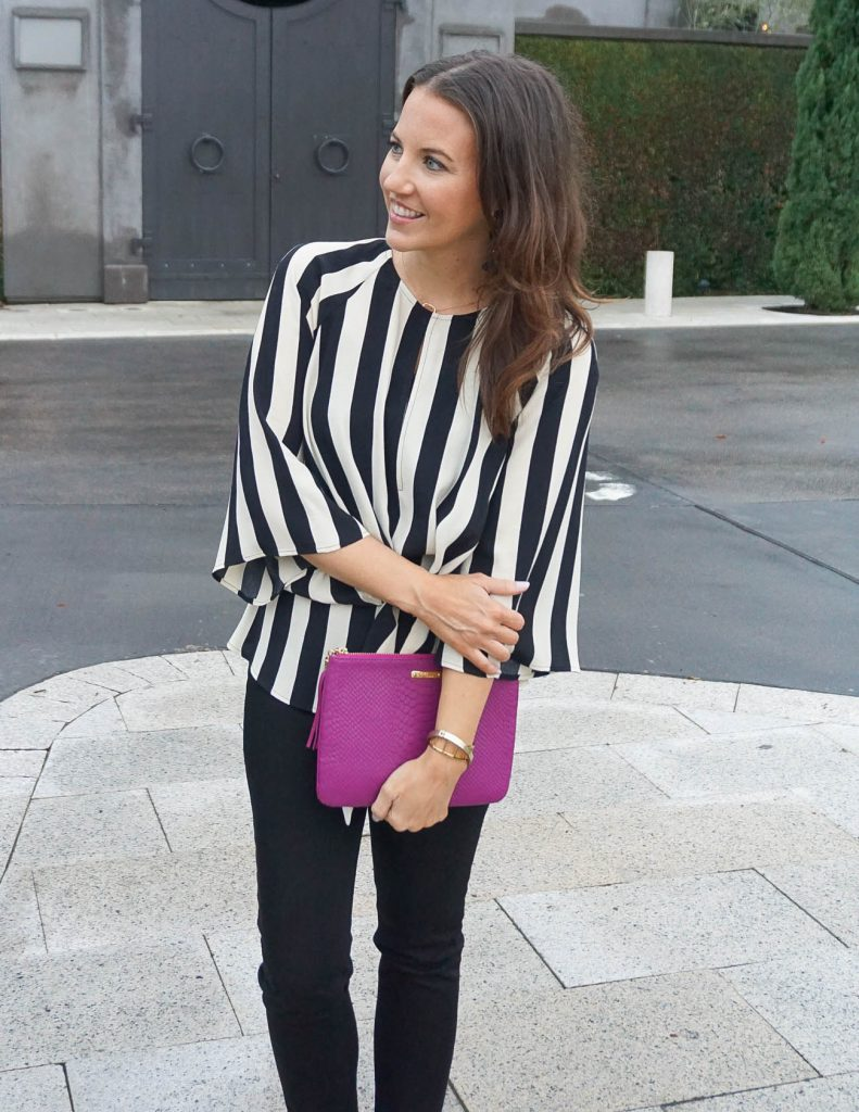 Work Outfit | Striped Tie Front Blouse | Black Pants | Houston Fashion Blogger Lady in Violet
