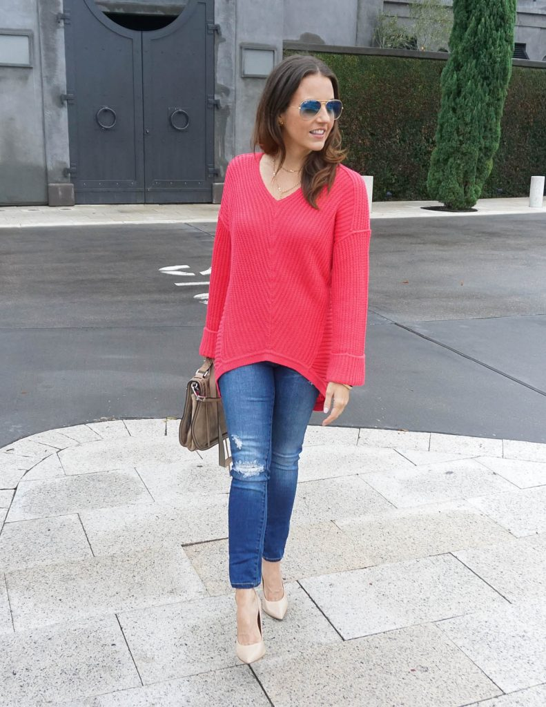 Casual Outfit | Pink Sweater | Distressed Jeans | Houston Fashion Blogger Lady in Violet