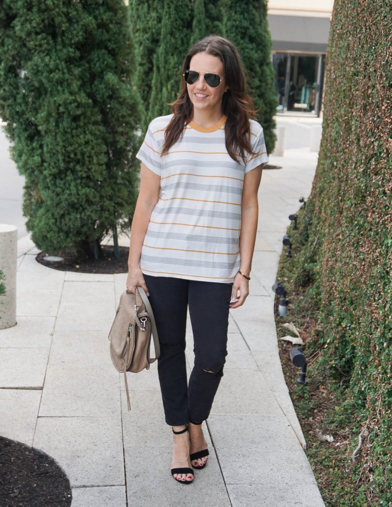 Casual Outfit | Striped Tee | Block Heel Sandals | Houston Fashion Blogger Lady in Violet