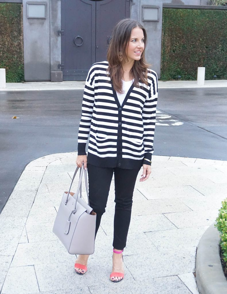Dressy Casual Outfit | Black and White Striped Cardigan | Pink Sandals | Houston Fashion Blogger Lady in Violet