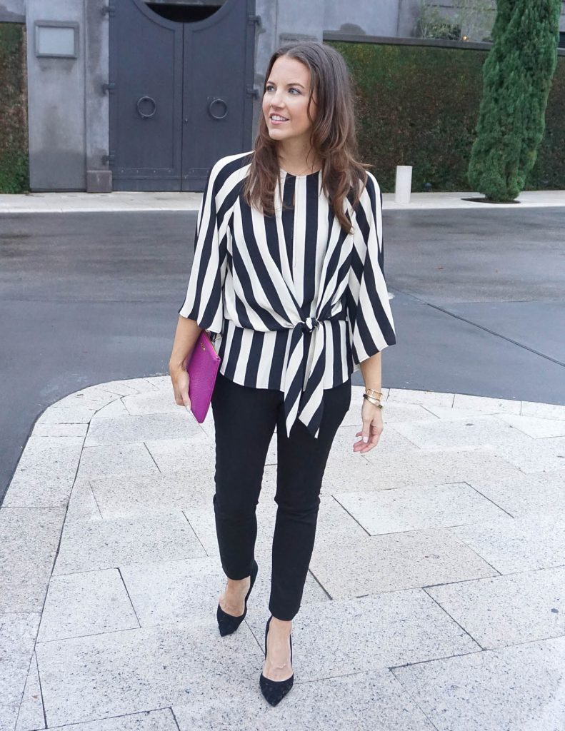 Fall Outfit | Striped Blouse | Black Skinny Jeans | Houston Fashion Blogger Lady in Violet