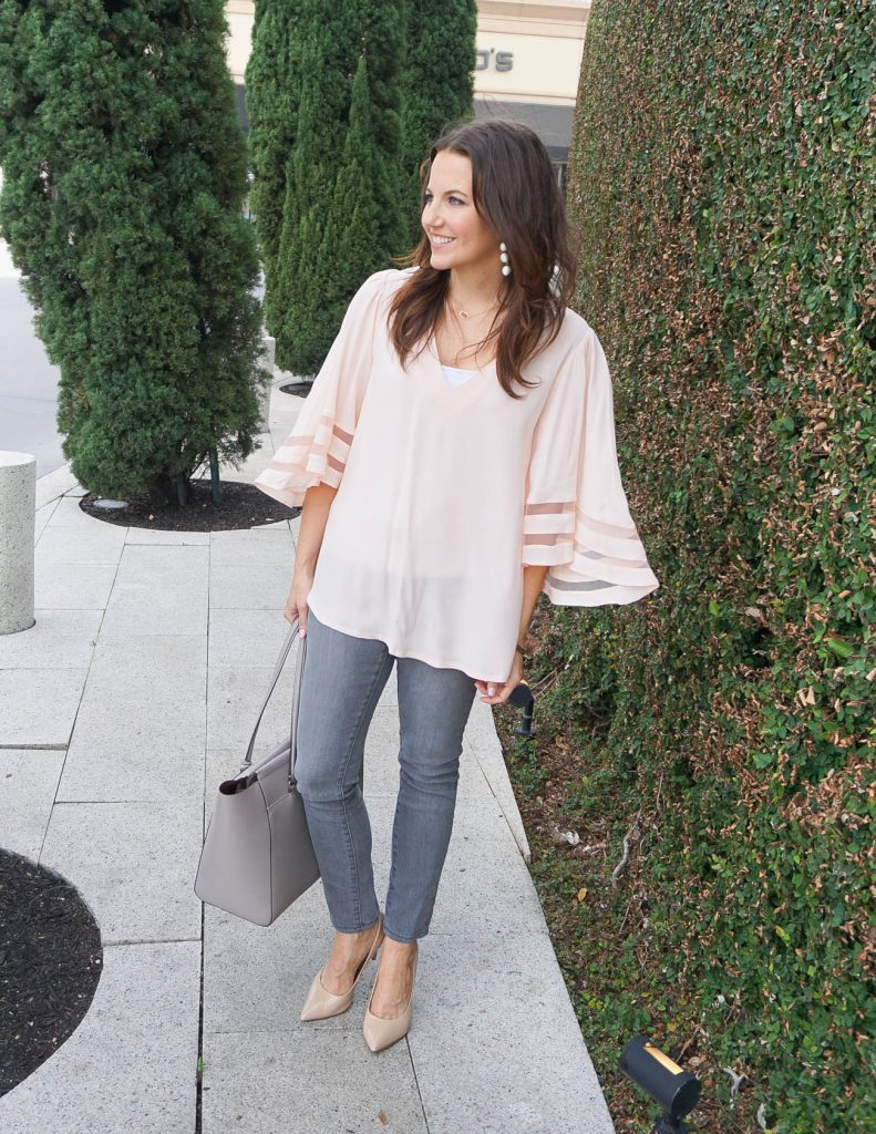 Spring Outfit | Blush Pink Top | Gray Skinny Jeans | Houston Fashion Blogger Lady in Violet