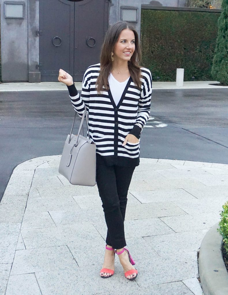 Casual Outfit | Striped Cardigan | Black Skinny Jeans | Houston Fashion Blogger Lady in Violet