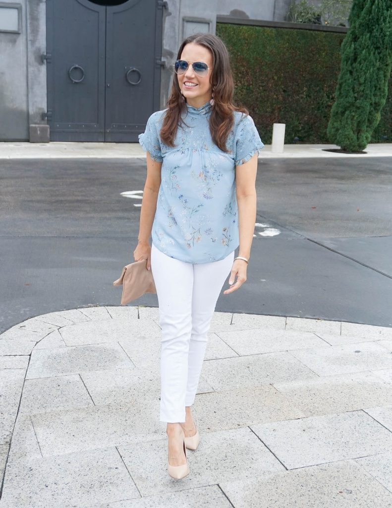 Weekend Outfit | Blue Floral Blouse | White Skinny Jeans | Houston Fashion Blogger Lady in Violet