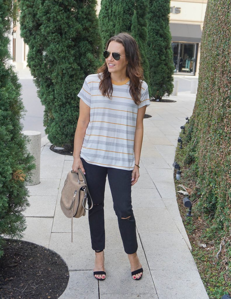 Weekend Outfit | Striped Tshirt | Black Sandals | Houston Fashion Blogger Lady in Violet
