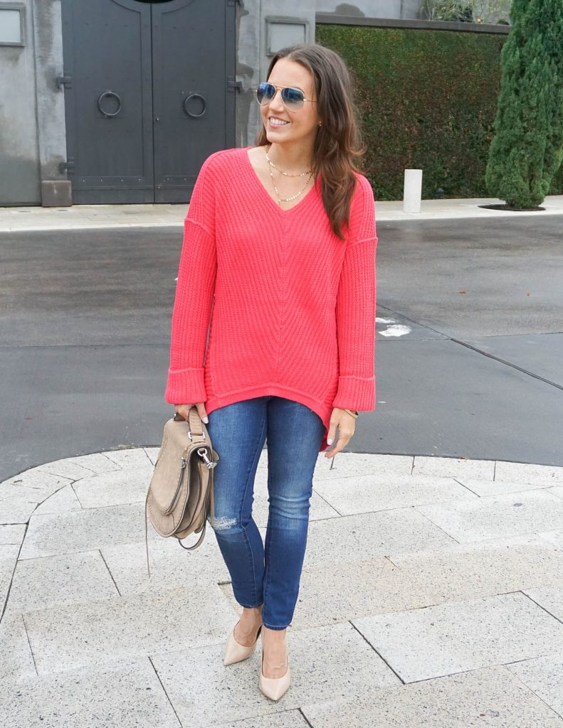 Winter Outfit | Coral Sweater | Distressed Jeans | Houston Fashion Blogger Lady in Violet