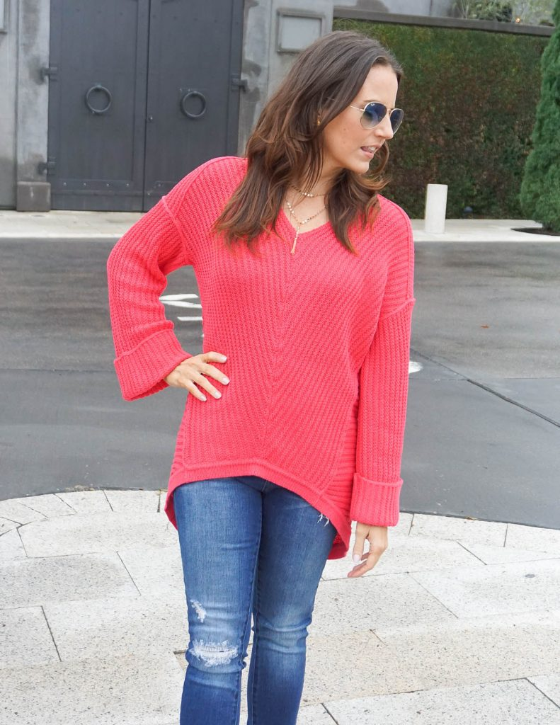Casual Outfit | Pink Sweater | Y Choker Necklace | Houston Fashion Blogger Lady in Violet