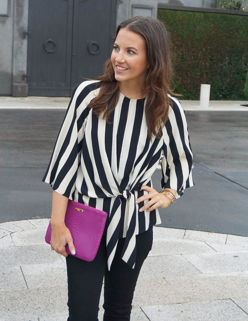 Fall Outfit | Striped Tie Front Top | Pink Clutch | Houston Fashion Blogger Lady in Violet