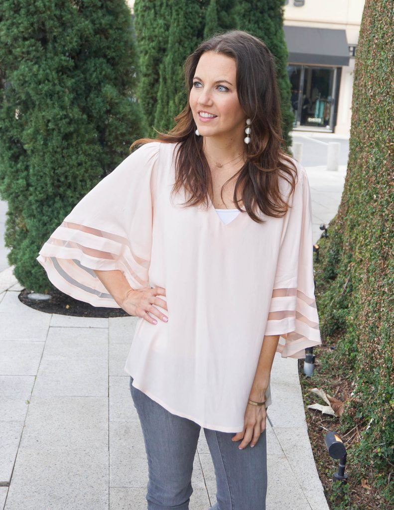 Spring Outfit | Blush Pink Top | White Earrings | Houston Fashion Blogger Lady in Violet