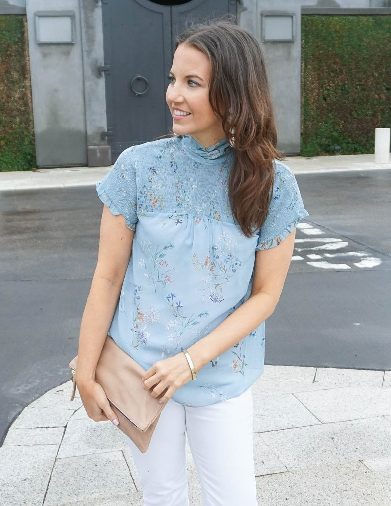 Spring Outfit | Floral Blouse | Clare V Clutch | Houston Fashion Blogger Lady in Violet