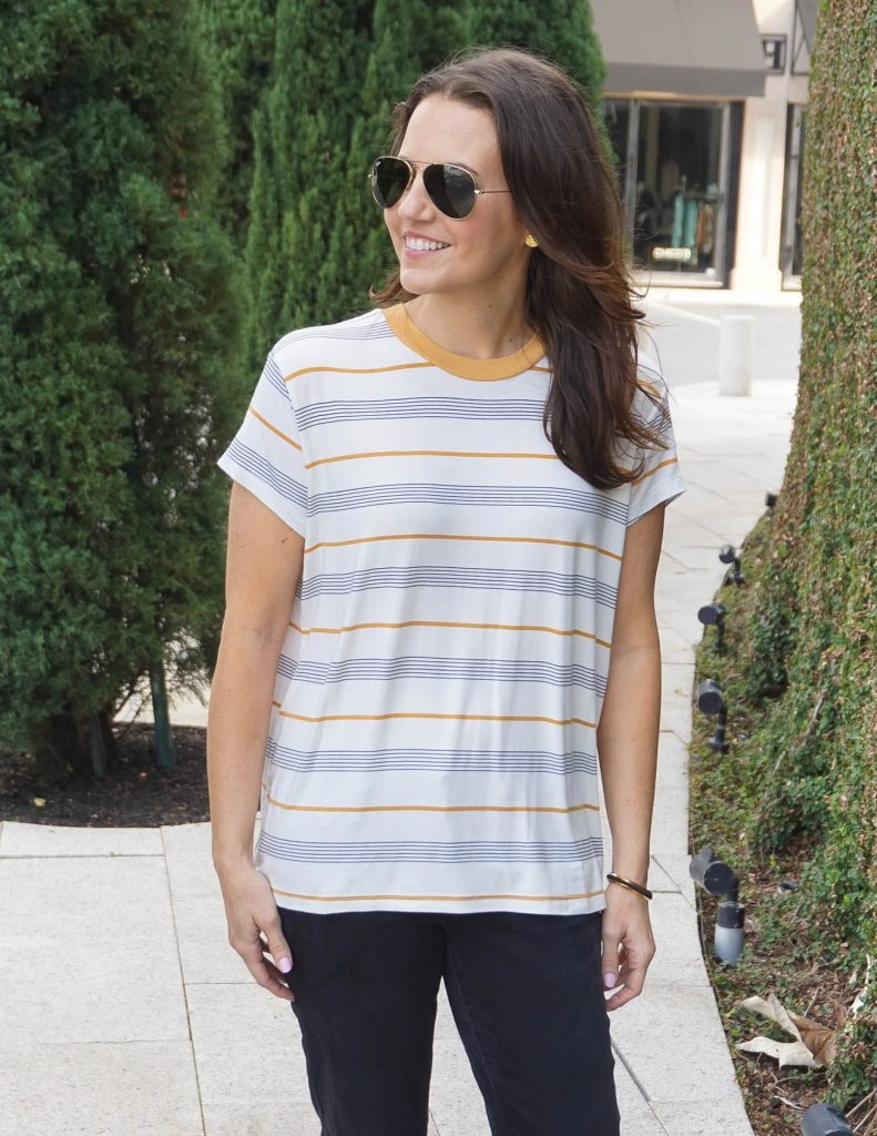 Spring Outfit | Striped Tee | Rayban Aviators | Houston Fashion Blogger Lady in Violet