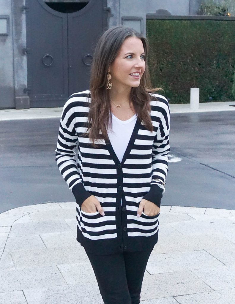 Winter Outfit | Black and White Striped Cardigan | White Tee | Houston Fashion Blogger Lady in Violet