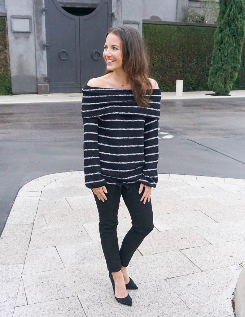 Casual Outfit | Off the Shoulder Top | Black Skinny Jeans | Houston Fashion Blogger Lady in Violet
