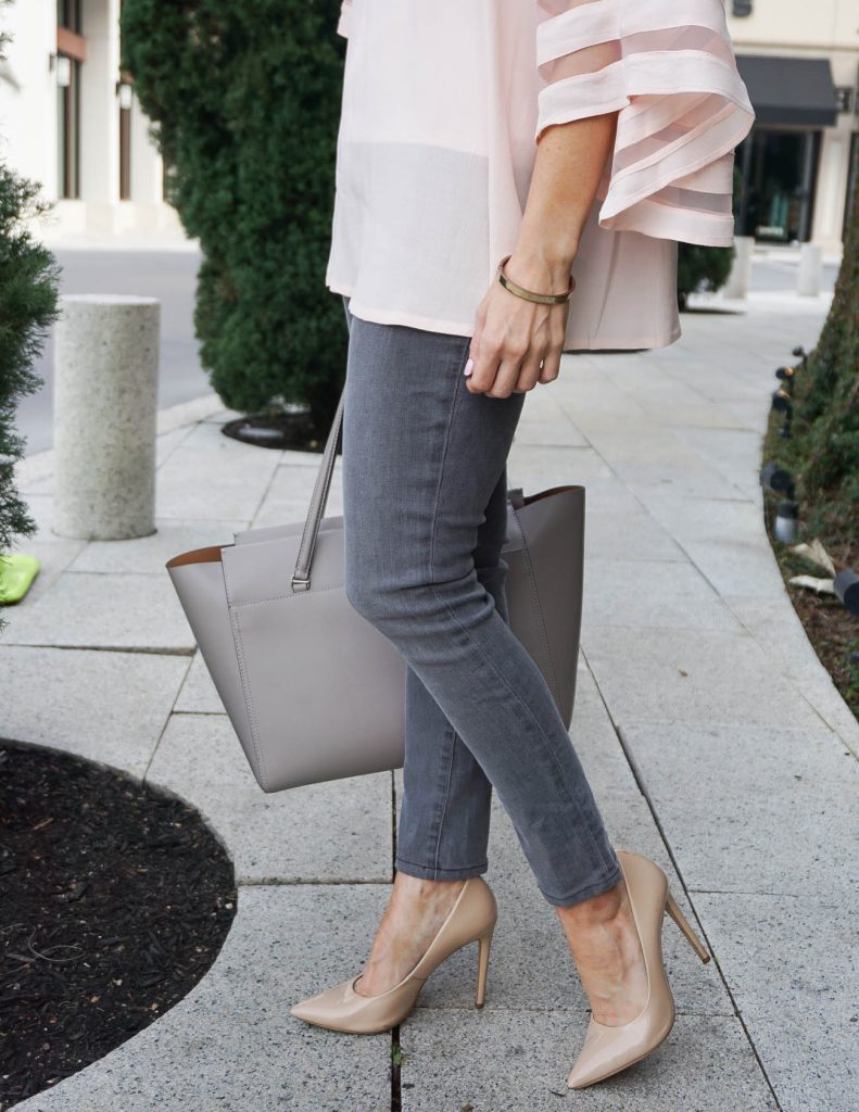 Dressy Casual Outfit | Gray Jeans | Nude Heels | Houston Fashion Blogger Lady in Violet