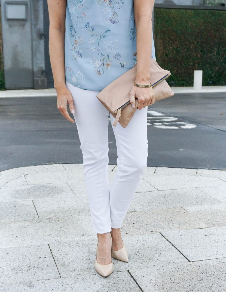 Spring Outfit | White Skinny Jeans | Pastel Blouse | Houston Fashion Blogger Lady in Violet