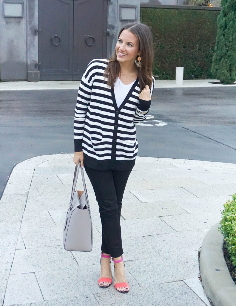 Casual Outfit | Striped Cardigan | Block Heel Sandals | Houston Fashion Blogger Lady in Violet