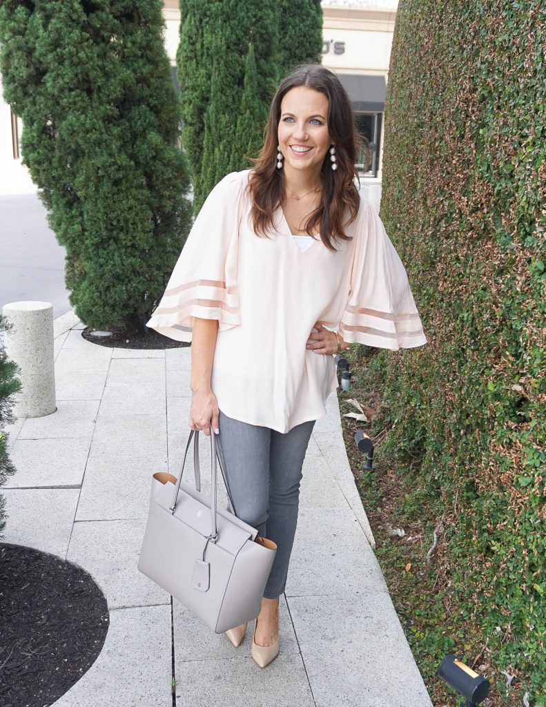 Casual Spring Outfit | Blush Pink Blouse | Gray Skinny Jeans | Houston Fashion Blogger Lady in Violet