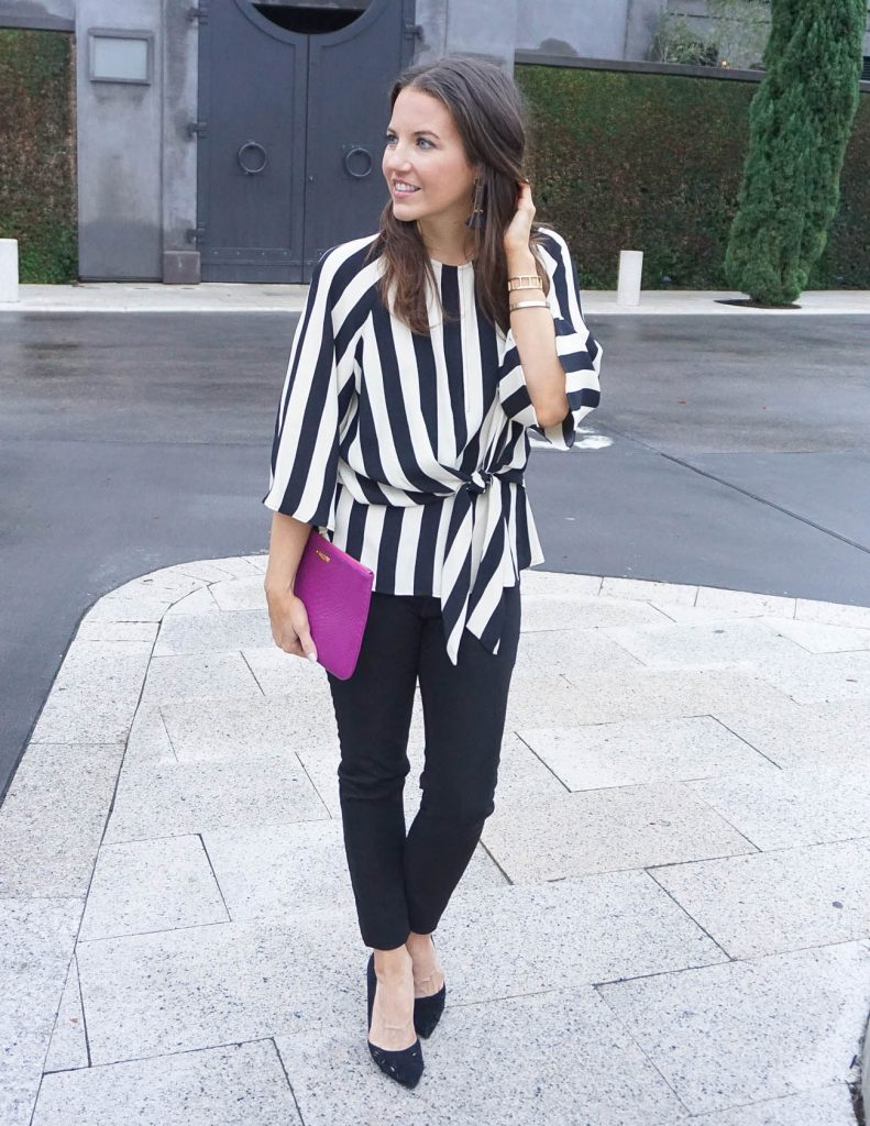 Date Night Outfit | Striped Blouse | Black Skinny Jeans | Houston Fashion Blogger Lady in Violet