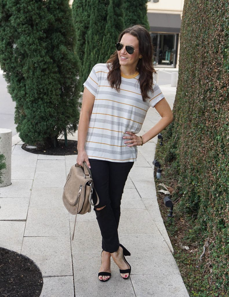 Spring Outfit | Striped Tee | black Jeans | Houston Fashion Blogger Lady in Violet